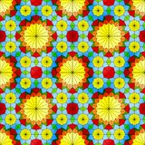 Modèle sans couture en verre souillé avec les fleurs jaunes Photos stock