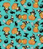 Modèle sans couture enfantin coloré avec des sorcières et des potirons Modèle de Halloween de vecteur Images libres de droits