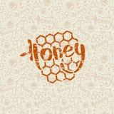 Modèle sans couture et emblème de miel naturel Images libres de droits