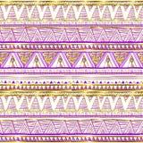 Modèle sans couture ethnique d'or Motifs tribals Couleurs noires, roses et d'or sur un fond blanc Abstraction géométrique Prin mi illustration de vecteur