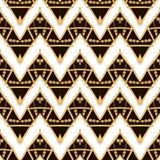 Modèle sans couture ethnique d'or tiré par la main Image stock