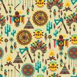 Modèle sans couture ethnique dans le style indigène Images libres de droits
