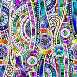 Modèle sans couture ethnique de doddle tribal de mosaïque Photographie stock libre de droits