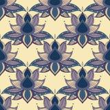 Modèle sans couture ethnique de mandala indien graphique de lotus de vintage Fond abstrait avec des fleurs Image stock