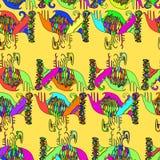 Modèle sans couture ethnique, fond jaune Illustration Libre de Droits