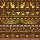 Modèle sans couture ethnique tribal avec des symboles de l'Egypte Photographie stock libre de droits