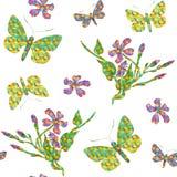 Modèle sans couture exotique avec des fleurs et des papillons illustration de vecteur