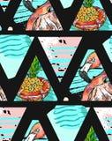 Modèle sans couture exotique fabriqué à la main avec les feuilles tropicales, l'ananas et le flamant rose sur géométrique abstrai Images libres de droits
