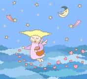 modèle sans couture fait à partir de peu de fille de vol de bande dessinée avec le coeur illustration libre de droits