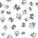 Modèle sans couture fait à partir des ânes et des agneaux dans le style de bande dessinée illustration stock