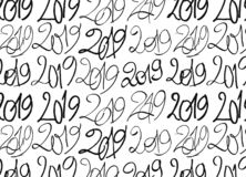 Modèle sans couture fait avec 2019 signes tirés par la main illustration de vecteur