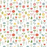 Modèle sans couture fait de fleurs de griffonnage illustration de vecteur