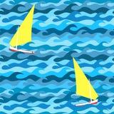 Modèle sans couture fait de vagues et yachts illustration stock