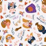 Modèle sans couture - femmes de différentes nationalités et religions, femmes internationales jour, filles mignonnes et drôles de illustration libre de droits