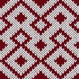Modèle sans couture fleuri de tricotage dans le col rouge foncé et blanc amorti Image stock