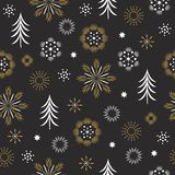 Modèle sans couture, flocons de neige stylisés images stock