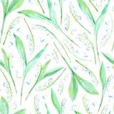 Modèle sans couture floral avec des fleurs du muguet Photo libre de droits