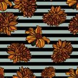Modèle sans couture floral avec des rayures Images libres de droits