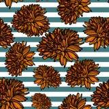 Modèle sans couture floral avec des rayures illustration de vecteur