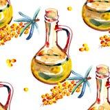 Modèle sans couture floral avec l'argousier et les branches Illustration tirée par la main d'aquarelle Image stock