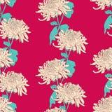 Modèle sans couture floral avec le chrysanthème sur le fond cramoisi illustration stock