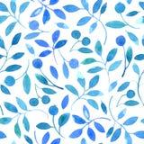 Modèle sans couture floral avec les branches et les baies bleues Photo stock