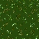 Modèle sans couture floral avec les feuilles tropicales et les formes d'or géométriques Fond naturel pour le tissu, papier peint Images libres de droits