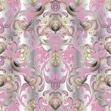 Modèle sans couture floral baroque du vecteur 3d Ele d'ornamental de damassé illustration stock