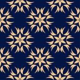 Modèle sans couture floral bleu d'or Photos libres de droits