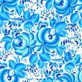 Modèle sans couture floral bleu et blanc fleuri illustration stock