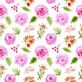 Modèle sans couture floral d'aquarelle beau illustration de vecteur
