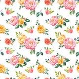 Modèle sans couture floral d'aquarelle de style de cru Rose peint à la main et fleurs jaunes sur le fond blanc Chic minable illustration de vecteur