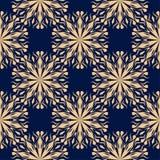 Modèle sans couture floral d'or sur le fond bleu Photo stock