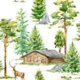 Modèle sans couture floral d'un arbre en bois de maison, de cerfs communs, de pin, de sapin, en pierre et à feuilles caduques Photo libre de droits