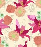 Modèle sans couture floral de bouquet de lis Photos libres de droits