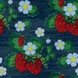 Modèle sans couture floral de denim de vecteur Fond de jeans avec des fleurs de Rose Fond de tissu de jeans illustration stock