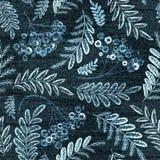 Modèle sans couture floral de denim de vecteur Fond de jeans avec des fleurs de Rose Tissu bleu Photos stock