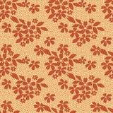 Modèle sans couture floral de dentelle de Brown sur le jaune Image stock