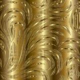 Modèle sans couture floral de l'or 3d Backgro rayé d'or de flourish Photos stock