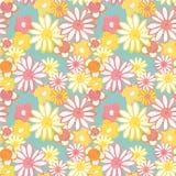 Modèle sans couture floral de rose, jaune et orange sur le fond bleu Modèle de Bohème à la mode de cru dans le style 60s Flower p illustration de vecteur