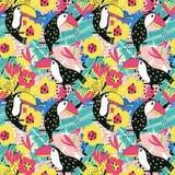 Modèle sans couture floral de toucan Image libre de droits