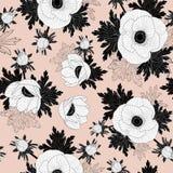 Modèle sans couture floral de vecteur avec de belles fleurs d'anémone sur le fond rose illustration libre de droits