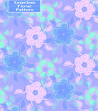 Modèle sans couture floral de vecteur Belles fleurs tirées par la main Couleurs : pourpre, rose, bleu Illustration Stock