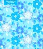 Modèle sans couture floral de vecteur Belles fleurs tirées par la main Ton bleu Illustration Libre de Droits
