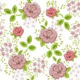 Modèle sans couture floral de vintage de Rose illustration stock