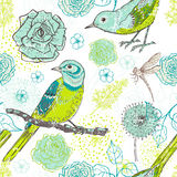 Modèle sans couture floral de vintage tiré par la main avec des oiseaux dans le motton Photographie stock