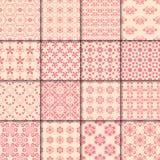 Modèle sans couture floral et géométrique Milieux abstraits rouges Photographie stock