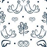 Modèle sans couture floral mignon avec des oiseaux, des fleurs et des coeurs dessinés à la main Croquis, griffonnage Photographie stock