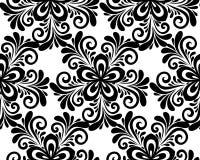 Modèle sans couture floral noir et blanc. illustration libre de droits