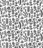 Modèle sans couture floral noir et blanc dans le vecteur Fond sans fin de ressort avec la fleur, la branche, le coeur, la feuille Images libres de droits